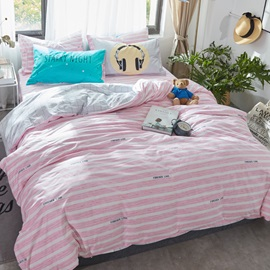 Wannaus Stripes Printed Cotton Pink and White Kids Duvet Covers/Bedding Sets