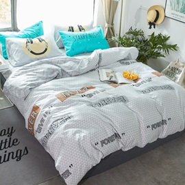 Wannaus Letters Printed Cotton Simple Style Gray Kids Duvet Covers/Bedding Sets
