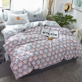 Wannaus Stars Printed Cotton Nordic Style White Kids Duvet Covers/Bedding Sets