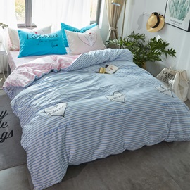 Wannaus Nordic Style Stripes Printed Cotton Light Blue Kids Duvet Covers/Bedding Sets