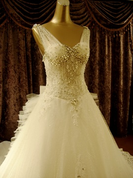 A-line Bowknot Floor-length V-neck Beading Chapel Train Wedding Dress
