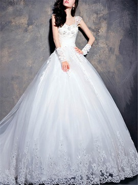 Beaded Lace Appliques Cap Sleeve A-Line Wedding Dress