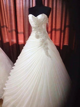 Dazzling Beaded Sweetheart Ruffles Organza Satin Wedding Dress