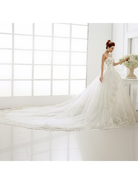 Stunning Beaded Sweetheart Ball Gown Lace Cathedral Wedding Dress
