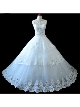 Stunning Rhinestone Beaded Scalloped High Neck Lace Cathedral Wedding Dress