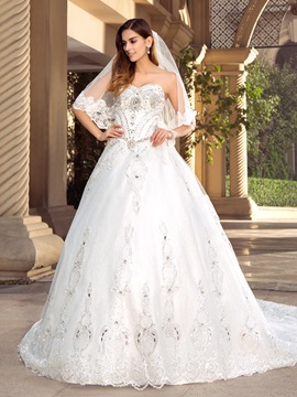 Eye-catching Rhinestone Beaded Sweetheart White A-Line Long Train Wedding Dress