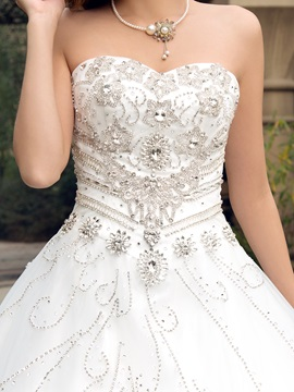 Dazzling Rhinestone Beaded Sweetheart Court Train Wedding Dress