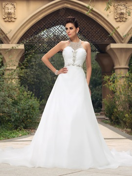 Dazzling Beaded Halter A-Line Court Train Wedding Dress