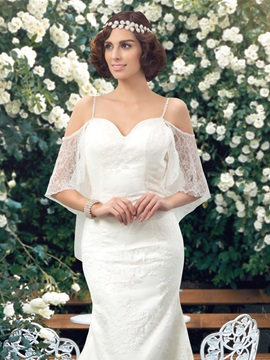 Dazzling Spaghetti Straps Sweetheart Bat Sleeve Mermaid Lace Wedding Dress