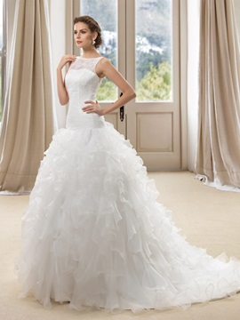Eye-catching Bateau Neck Sheer Lace Back Ruffles Wedding Dress