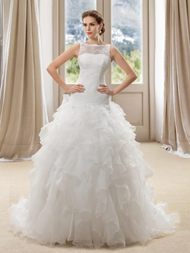 Eye-catching Bateau Neck Sheer Lace Back Ruffles Organza Wedding Dress