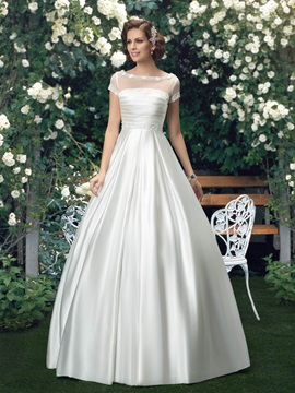 Simple Bateau Neck Floor Length Short Sleeve Wedding Dress