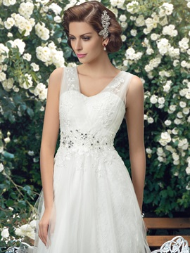 Straps Lace Floor Length A-Line Wedding Dress