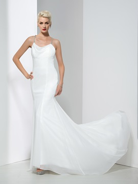 Spaghetti Straps Criss-Cross Backless Chiffon Mermaid Wedding Dress