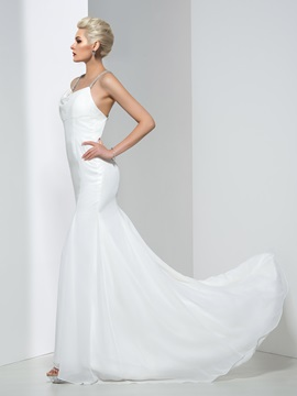 Spaghetti Straps Criss-Cross Backless Mermaid Wedding Dress