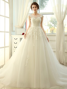 Floor Length A-Line Vintage Scoop Neck Lace Wedding Dress