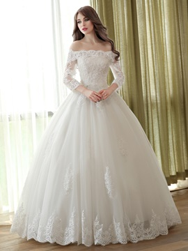 Floor Length Scalloped Off the Shoulder Long Sleeve Ball Gown Wedding Dress