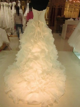 Strapless Ruffles Lace-Up Ball Gown Wedding Dress