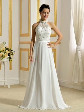 Beaded Lace Top Ivory Chiffon Long Wedding Dress
