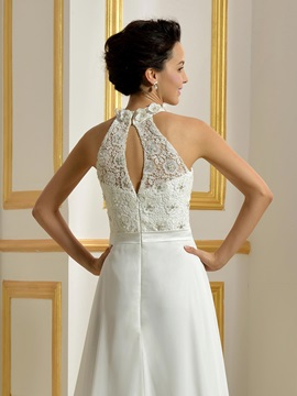 Beaded Lace Top Ivory Long Wedding Dress