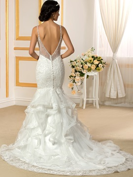 Beaded V-Neck Spaghetti Straps Ruffles Mermaid Wedding Dress