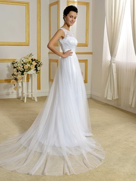 Floor Length A-Line Beaded Lace Top White Wedding Dress