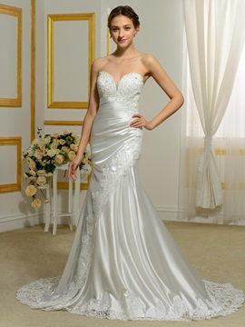 Sweetheart Appliquees Hollow Mermaid Wedding Dress