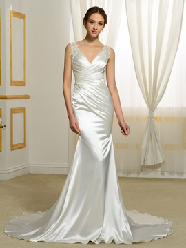 V Neck Backless Mermaid Wedding Dress