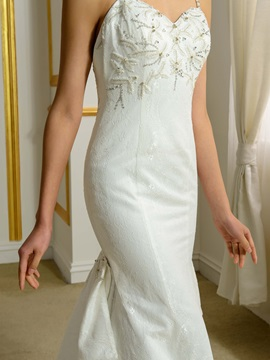 Spaghetti Straps Beaded Lace Mermaid Backless Wedding Dress