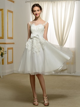 Straps Lace Appliques Bowknot Knee Length Wedding Dress