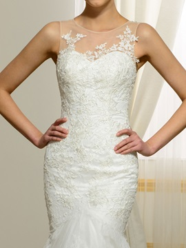 Sheer Neck Appliques Sleeveless Mermaid Wedding Dress