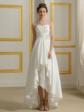 Ruched Sweetheart Ivory Taffeta High Low Wedding Dress