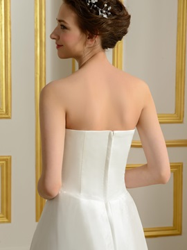 Ruched Sweetheart Ivory High Low Wedding Dress