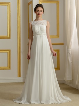 Lace Top Beaded Waist A-Line Chiffon Wedding Dress