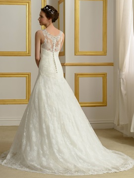 Sequin Beaded V-Neck Ivory Lace Wedding Gown