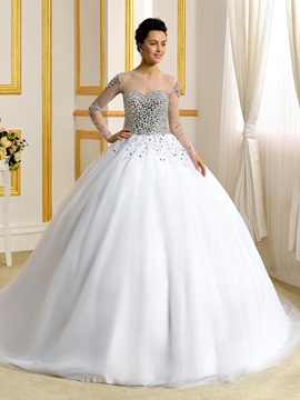 Luxurious Sheer Neck Long Sleeves Beading Crystal Ball Gown Wedding Dress