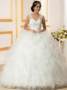 Beaded Lace Ruffles Tulle Ball Gown Wedding Dress