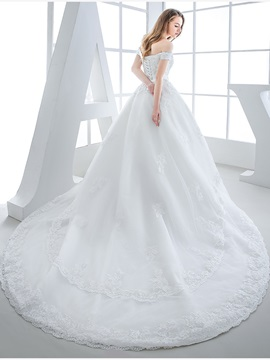 Beaded Lace Appliques Off the Shoulder A-Line Wedding Dress with Train