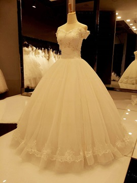 Sweetheart Off the Shoulder Beaded Lace Ball Gown Wedding Dress