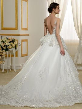 Floor Length A-Line Beaded Scoop Neck Lace Appliques Wedding Dress