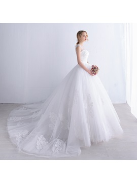 Lace Appliques Ivory Tulle Ball Gown Wedding Dress