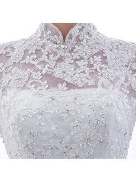 Beaded Lace High Neck Long Sleeve Chapel Wedding Dress