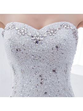 Rhinestone Sequin Beaded Sweetheart Ruffles Tulle Ball Gown Wedding Dress