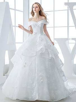 Off the Shoulder Lace Appliques Tiered Ruffles Lace Up Wedding Dress