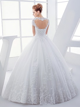 Appliques Open Back Short Sleeve Ball Gown Wedding Dress