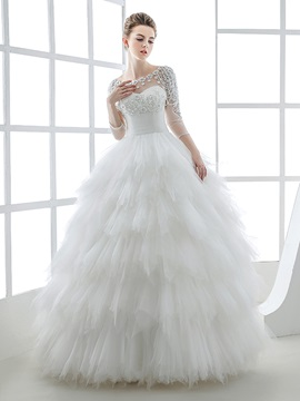 Sheer Scoop Neck 3/4 Sleeves Ruffles Tulle Ball Gown Wedding Dress