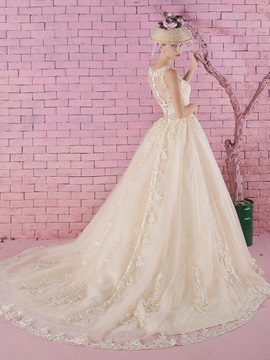 Lace Jewel Neck Sheer Zipper Back A-Line Wedding Dress
