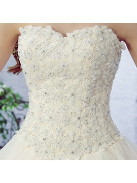 Beaded Lace Top Sweetheart Tiered Ruffles Wedding Dress