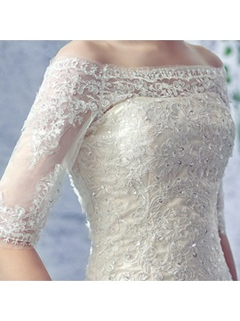 Off the Shoulder Appliques Half Sleeve Mermaid Lace-Up Wedding Dress