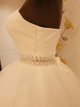 Ruched Sweetheart Beaded Waist Ball Gown Wedding Dress